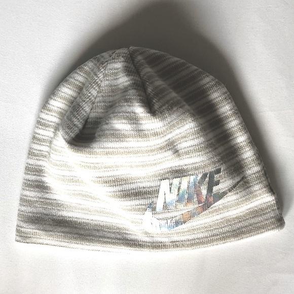 Nike striped beanie with reflective logo